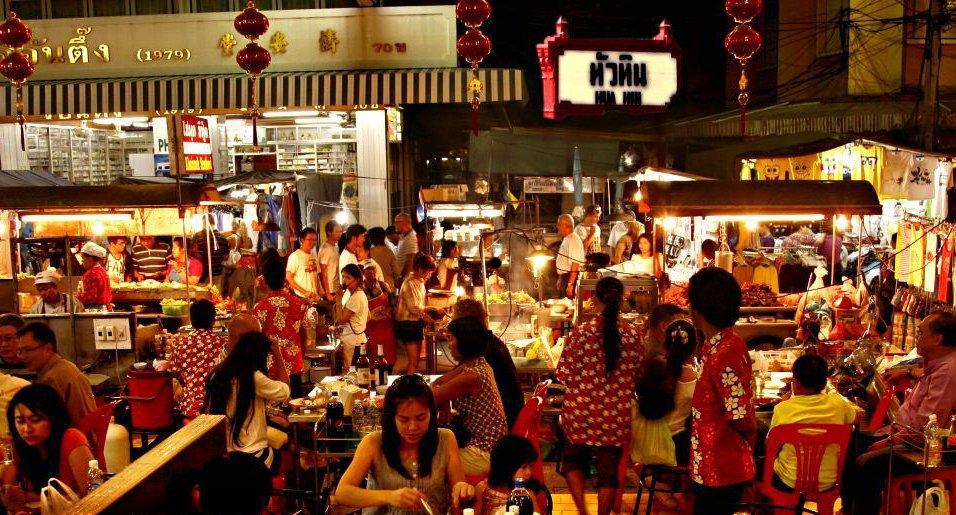 Thailand Markt mit Restaurants