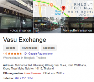 Wechselstube Bangkok - Vasu Exchange